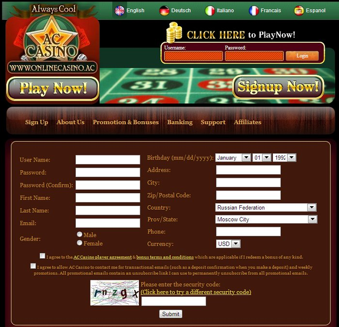 online casino no deposit sign up